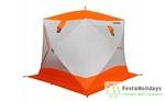 Палатка для зимней рыбалки Пингвин Призма Премиум Strong (2-сл) бело/оранжевая
